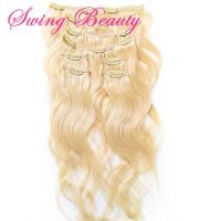 Clip in Russian Remy Human Hair Extension Natural Blonde Body Wave