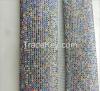 White golden-bottom aluminum rhinestone mesh cloth