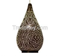 """Masterfully Crafted 24"""" Teardrop-Shaped Moroccan Pendant Lamp"""