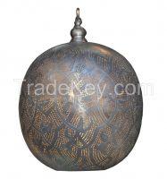 Moroccan Pendant Light, Black Oxidized Finish