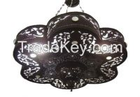 Brass Black Oxidized Moroccan Chandelier With Glass Stones