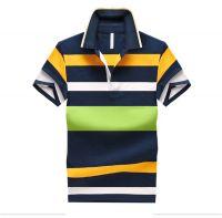 Stripe mens t-shirts men polo shirt oem available custom made clothing