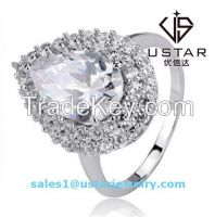 Beautiful Studded Silver Circle Synthetic Gemstone Gemmed Ring