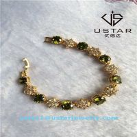 USA Style Peridot Gemstone Gemmed Silver Bracelets