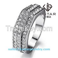 Fashion Jewelry Polygonal S925 Sterling Silver Ring with Zircon
