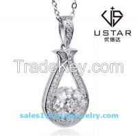 Elegant S925 Silver Pendant Necklace with Diamond