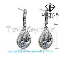 Gemstone Gemmed Silver Earring with Big Gemstone Pendant
