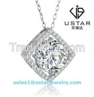 Ustar Jewelry Fashion Silve Chain Studded Square Circle Pendant Necklace with Big Zircon