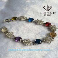 USA Style Colorful Gemstone Gemmed Silver Bracelets