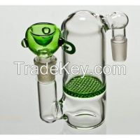 green glass ashcatcher with honeycomb perc