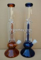 double 8arms perc glass water pipe with ice pinch