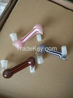 glass adapter for glass smoking pipe with beautiful colour 45 degree
