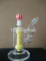 hand blown glass bubble white+yellow inline perc 14mm male joint