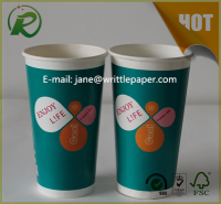 Disposable single wall paper coffee cups with custom logo