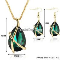 925 sterling silve emerald jewelry sets, pendant, earrings