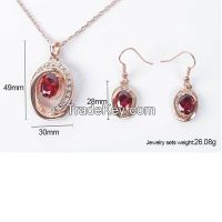 red ruby jewelry sets with rose gold plating pendants, earrings