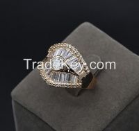 princess cut diamond ring with 2 micron plating gold ring
