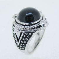 antique silver onyx ring with black enamel