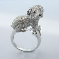 micro-setting lovely dog ring with invisible setting ring
