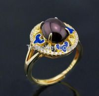 gemstone and enamel ring with 18K yellow gold plating
