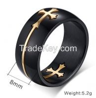 black onyx with yellow gold plating stainless steel ring