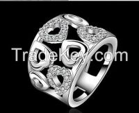 white CZ with white rhodium plating peace heart ring