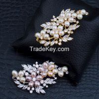 pearls and CZ pendants/brooches with 14K gold plating