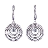 white CZ with white rhodium plating earrings