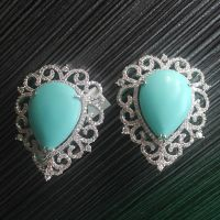 turquoise stone and tiny white CZ earrings with white rhodium plating
