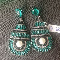 925 stering silver traditional ethnic jewelry set with green CZ