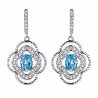 high quality hot sale sea blue CZ earrings, sterling silver or brass earrings