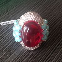 Traditional East Indian rings with red ruby and turquoise stone rings