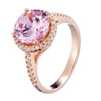 big pink CZ and tiny white CZ rings with rose gold plating wedding rings