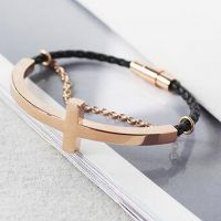 high quality men's jewelry, metal and leather combined men's bracelet