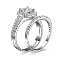 925 sterling silver wedding rings sets, bridal ring sets