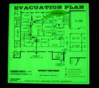 glow in the dark/ photoluminescent/ luminescent evacuation map