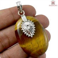Tiger Eye Gemstone Silver Pendant