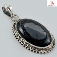 Black Malachite Gemstone Silver Pendant