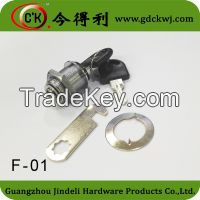 Furniture cam lock cylinder with hook plate