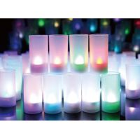 Set of 12 Multi-colored Flickering Tea Light LED Flameless Tealights Candles with Frosted Cups Christmas New Year Decor