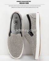 LEYO 2016 spring man shoes black, beige textile casual shoes slip-on sneaker