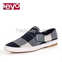 LEYO summer man shoes navy, green checked canvas casual shoes classic slip-on sneaker