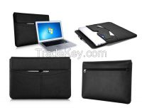 Premium leather briefcase with card sot and side pocket laptop bag for Macbook Air 13.5 inch