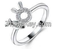 Simple charms sterling silver ring
