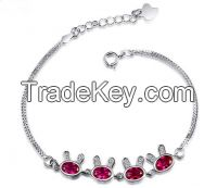 Colorful charms sterling silver bracelets