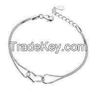 Heart charms fine silver bracelets