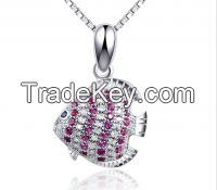 Micro paving pendant bubble fish charm pendant silver pendant