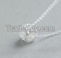Charm necklace with lucky beads silver necklace