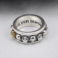 Sterling Silver Skulls Spinner Ring for Men