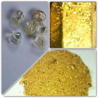 Rough Diamonds, Gold Nuggets, Gold Dust, Gold Bars,